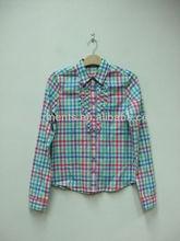 100% diseñador de poliéster de algodón de las señoras blusasimpreso