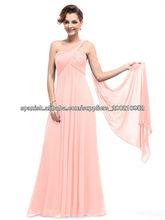 De un solo hombro vestido de noche palabra de longitud gasa A-line SH011