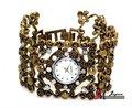 bw807 mulheres moda liga de ouro antigo chapeado rhinestone custom pulseira relógio