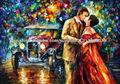 Beso entre hombre y mujer Pintura Imágenes