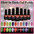 No1-24 2014 dulce de color caliente venta brillan en la oscuridad de uñas para la cnd shellac