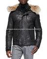 el más nuevo diseño de invierno chaqueta hecha de cuero genuino con piel sintética para hombres