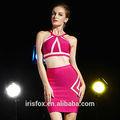 de color rosa correa de dos piezas sexy vestido de fiesta