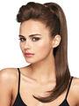 fácil de operar con cordón de seda de cola de caballo recta de extensiones de cabello negro para las mujeres