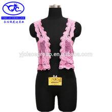 sin mangas de patrones de bordado de encaje de algodón de moda blusas formales de color rosa