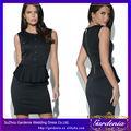 negro sin mangas militar peplum vestido con el botón de detalle de terciopelo informal de diseño de una pieza de vestido de fies