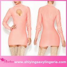 venta al por mayor de color rosa ruddy cuello alto hueco fuera de mini vestido