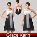 Nova chegada !!! 2015 chiffon dama de honra vestido padrões Graça Karin preto e branco curto Empire vestido da dama de CL6101