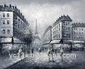 100% handmade decoração pintura a óleo sobre tela, branco e preto de rua de paris pintura a óleo