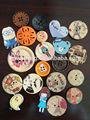 2014 animal impreso botón de madera 2or 4 agujeros botón de madera de juguete de bricolaje de madera del arte del arte