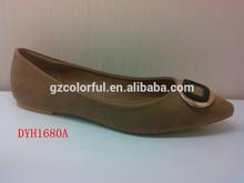 color beige de las señoras elegantes sharp toe zapatos planos con especial hebilla en la parte alta