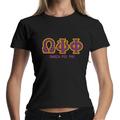 Promoción personalizados letras griegas Rhinestone T -shirt
