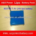 903759 7.4V li-polímero batería recargable 2000mAh