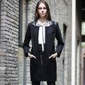 YIGELILA 2013 Las mujeres de moda abrigo de invierno negro 975