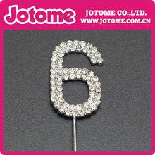 número 6 diamante de cristal boda de la torta de cumpleaños carta Topper