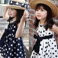 2013 SUMMER NEWEST STYLE POLKA-DOT PLEATED SLEEVELESS GIRLS DRESS DESIGN FOR FASHION KIDS TA1070