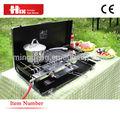 japonés 4 baratos mesa de quemador de la estufa de gas con cubierta de vidrio