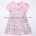Impreso de manga corta de ropa de niños niñas vestidos de verano
