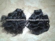 Venta al por mayor de peloindio de laindia, cabello humano, de pelo corto, de la máquina trama del pelo