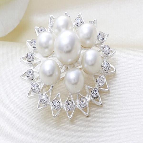 mini strass branco e prata para festas de casamento brilhante mulheres broche de cristal