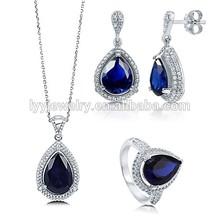 el 2014 más populares de color azul oscuro de piedras preciosas joyas de plata set