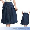 Último diseño moda mujeres falda tamaño L-3XL Denim Lady Maxi faldas con Botton adorno BS06016