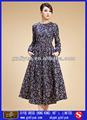 vestido de las señoras en azul de algodón de impresión