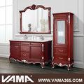 vama fixé au sol en bois salle de bain vanité double vasque