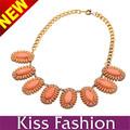 Collar llamativo collar de goma 2014 Natural anaranjado de la flor de plástico