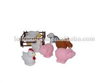 los animales de granja de goma granja animal de plástico de los animales de granja
