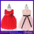 Capullo de rosa suave con apliques de tul negro de la cinta de color rosa vestidos de fiesta desgaste para las niñas 2-6 de años
