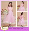 nova chegada de venda quente bonito rosa tafetá tule mangas colher kids vestidos de dama de honra com laço grande arco( qu0757)