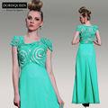 2014 llegadas de cristal elegante madura sexy largo de color verde esmeralda vestido de noche