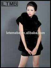 2014 estilo de la moda las mujeres negro piel de conejo rex chaleco/piel de conejo rex escudo/sin mangas