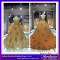 2014 Catedral de tren de lujo del bordado de Tulle de la falda del vestido de boda del oro verdadero de la muestra