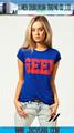 letras del friki de diseño superior de la manera imprimen la camiseta 100% de algodón de manga corta de las mujeres de cuello re