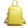 china proveedor de venta al por mayor dama joven de color amarillo de piel de cocodrilo mochilas