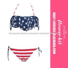 de moda de alta calidad sexy bikini nueva marca F4296 de la bandera americana de la borla de Bikini