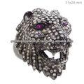 Rubí y diamante allanar cara de león anillo, de ley 925 león de plata anillo de la cara, anillo de piedras preciosas