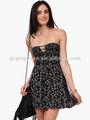 sexy negro flor vestido de verano casual 2014