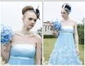 Brillante azul del amor sin tirantes nupcial cóctel de baile vestido vestido corto hasta la rodilla Beads