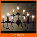 Estilo antiguo e14 vela negro candelabros de metal con precio competitivo ft-7095-9