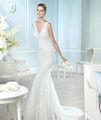 nueva llegada de último diseño aline la longitud del piso de lujo de diseño de sirena vestido de novia 2014