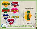 Parche bordado del chenille de encargo el amor del corazón de prendas de vestir patrón escudo bordado, nuevo diseño!