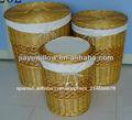 3 piezas conjunto ronda de mimbre de lavandería dificulta cestas con tapas
