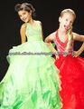 2013 Halter princesa Morden cuentas volantes Organza vestido largo desfile de Cenicienta chicas 4676S