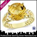Anillo de oro de la boda brillante, anillo de oro 14k