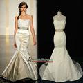 Nuevo modelo de satén con el cristal rebordea el vestido de boda de la sirena 2013