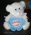 Xcl2460- oso de peluche blanco, oso de peluche con flores