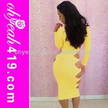 2014 de diseño de moda hueco fuera apretado sexy club wear vestido de